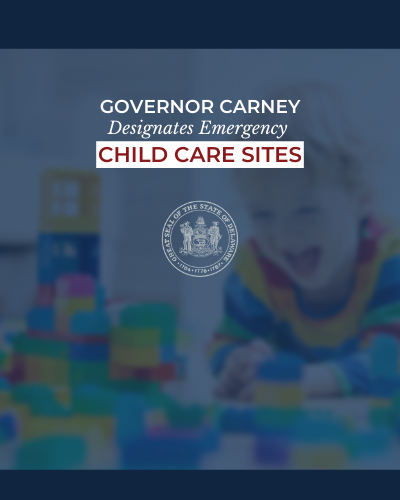 Image: Governor Carney Signs Order to Designate Emergency Child Care Sites for Essential Personnel