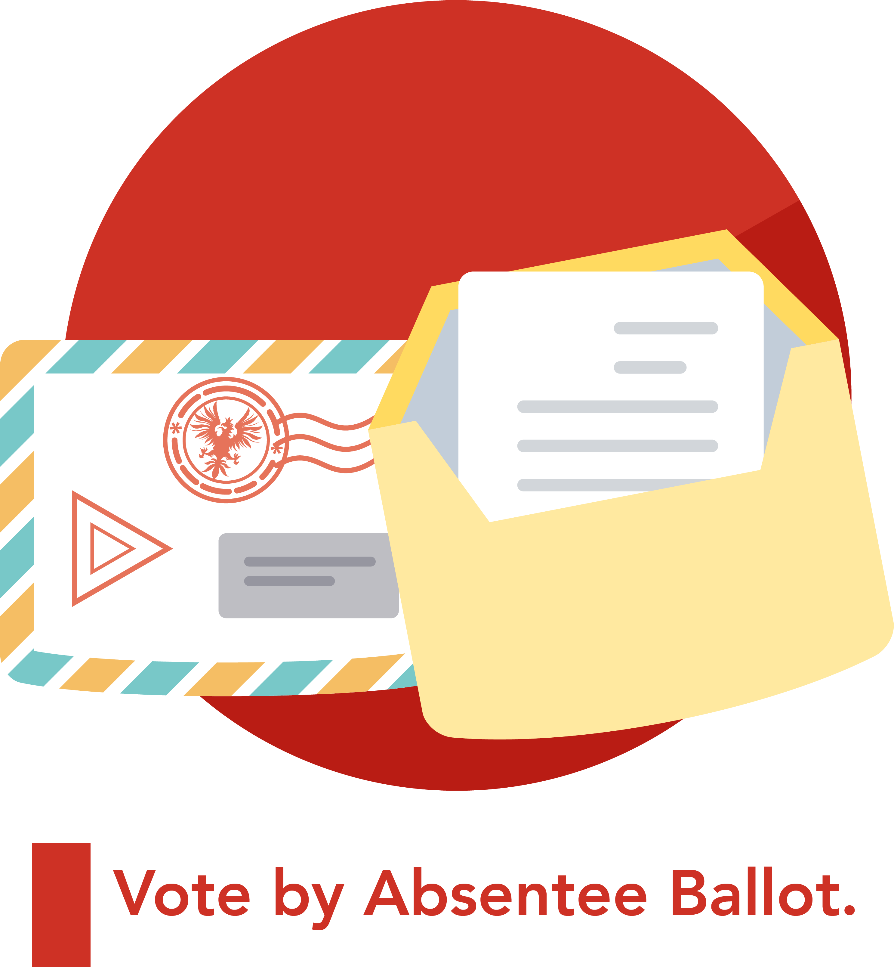 A graphic with an envelope and vote representing voting absentee