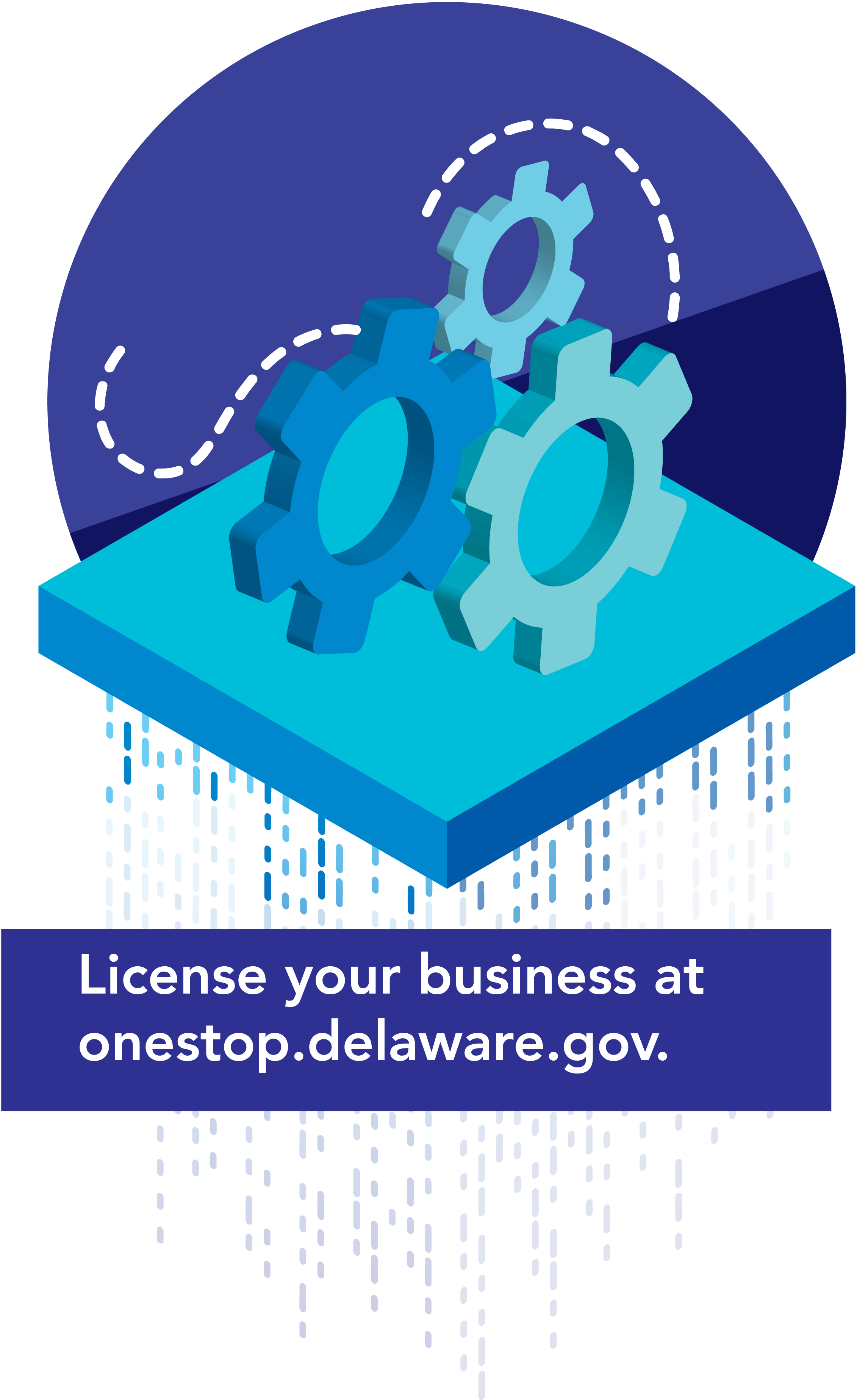 A graphic with cogs representing that yo can license your business at onestep.de.gov