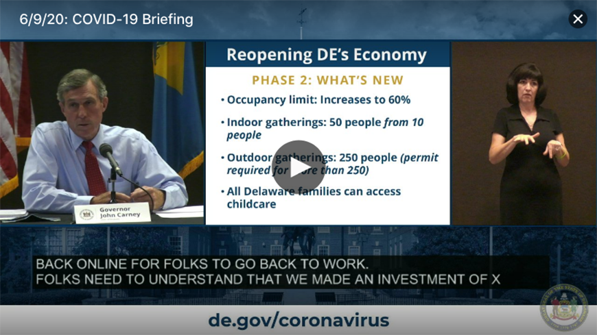 Livestream video of a press conference with Governor Carney