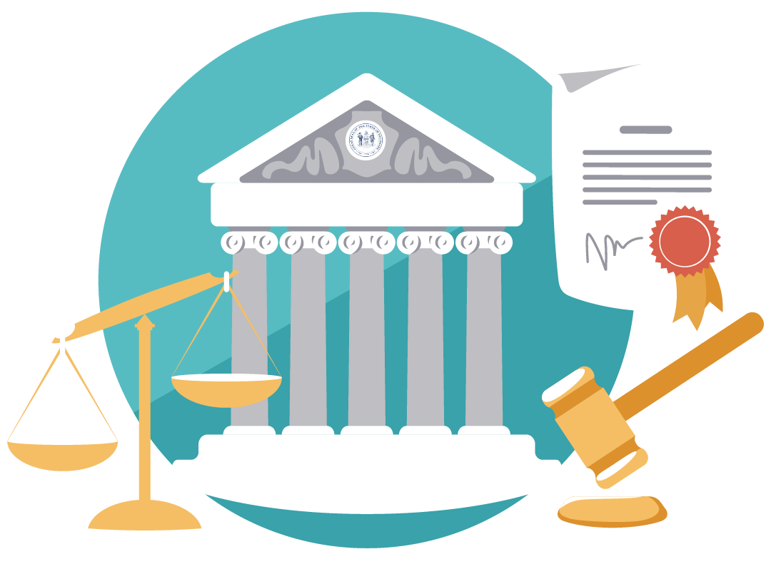 Courts, Laws, and Protection Guide graphic with a gavel, court, State Seal and scales