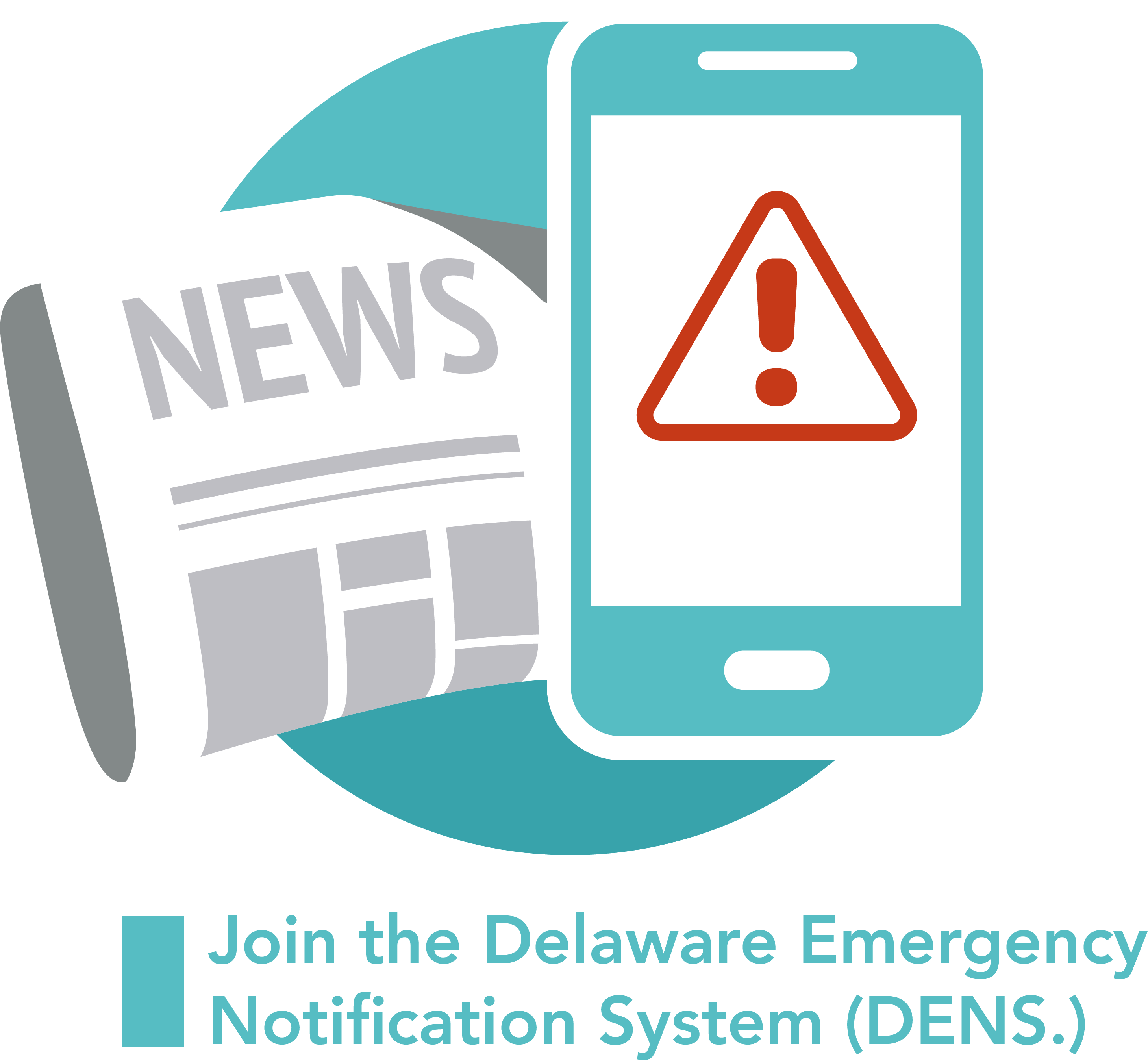 A graphic symbolizng news for the Delaware Emegency Notification System - DENS