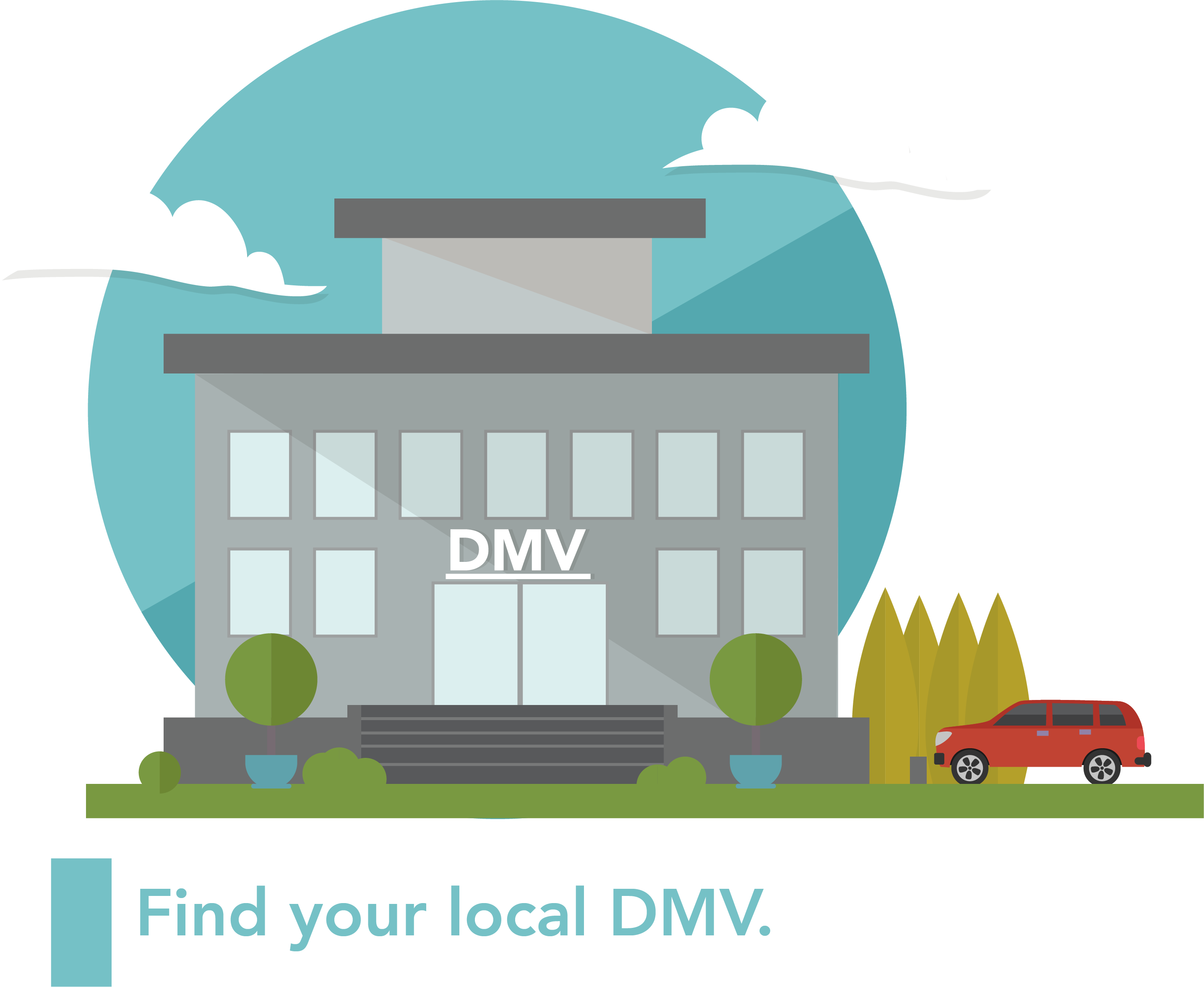 A graphic of a DMV building