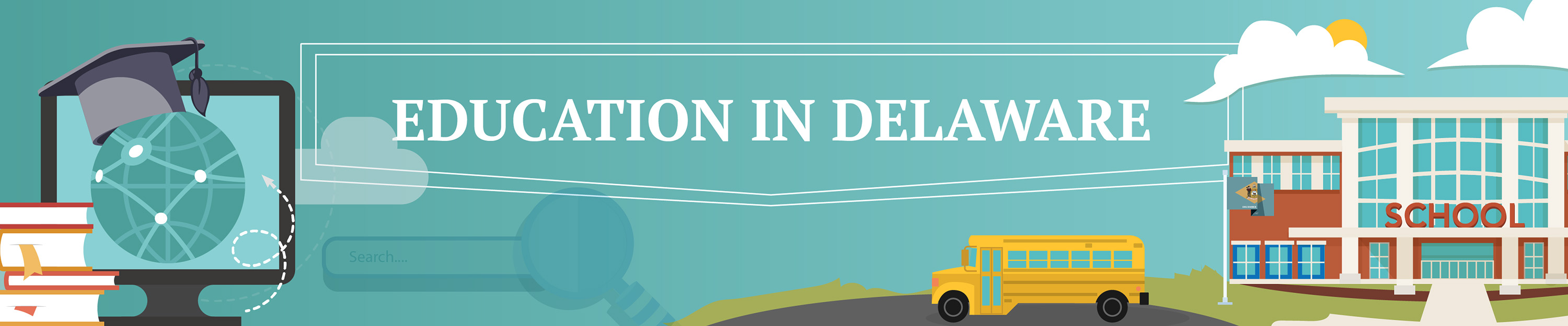 A graphic of a school, book, graduation cap and school bus with the text Education in Delaware