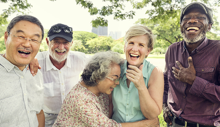 A picture of smiling seniors