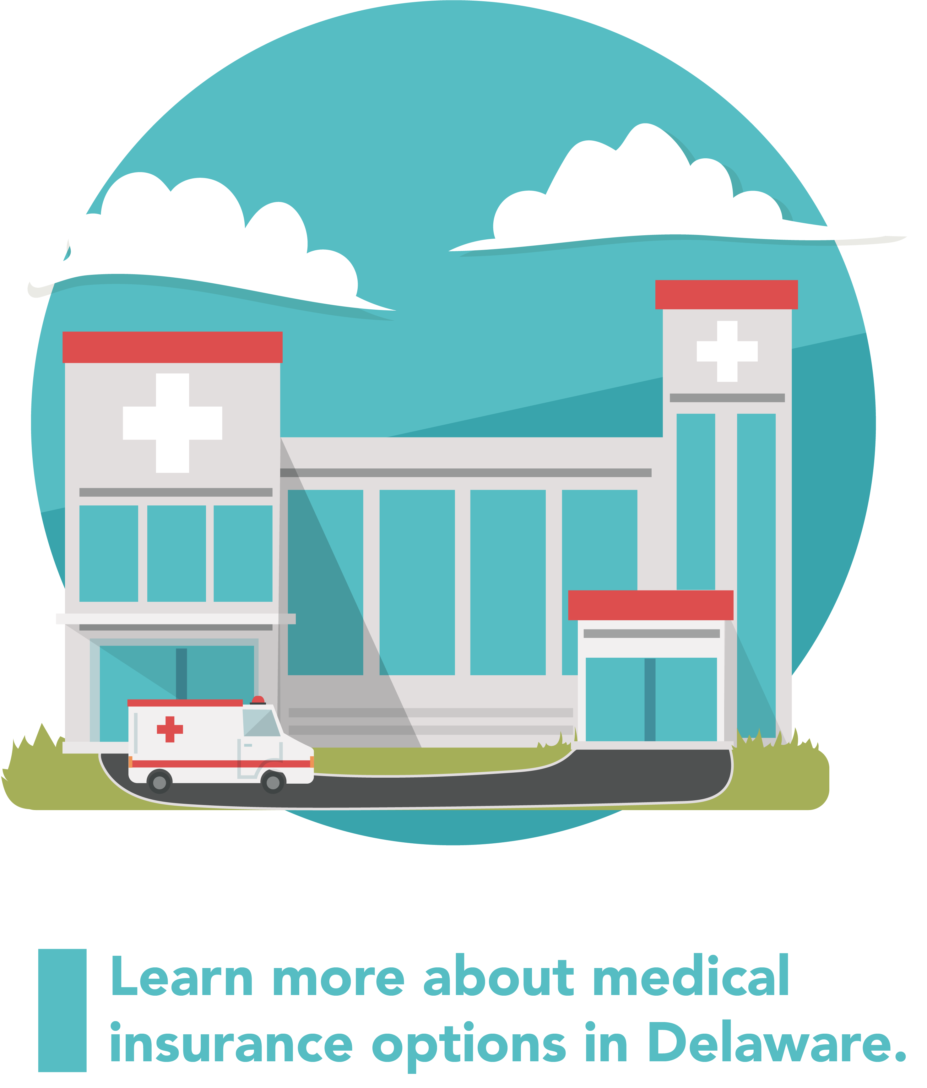 Graphic of a hospital building and an ambulance.