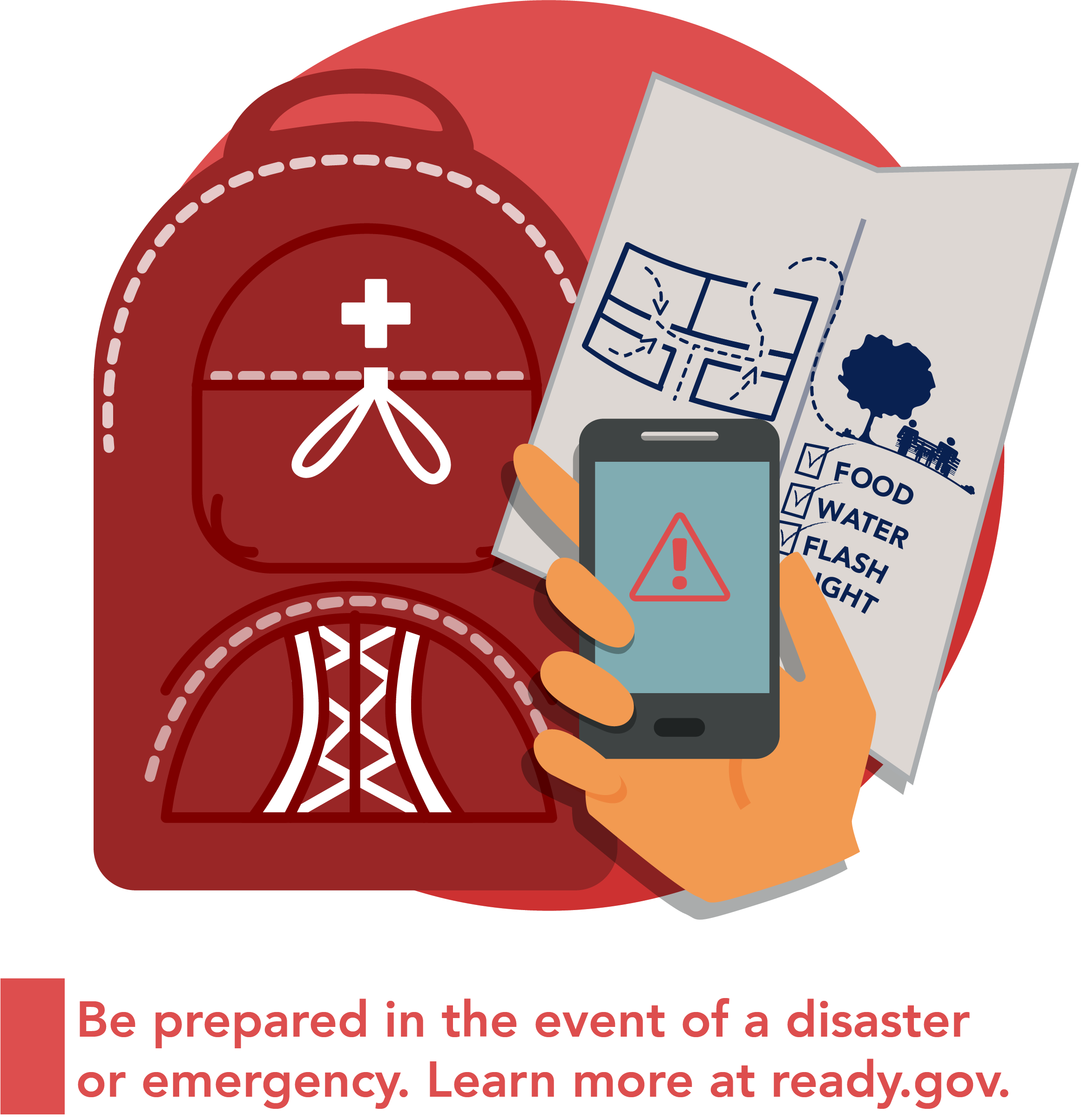 Graphic of a go-bag, map, and cellphone with an alert on it.