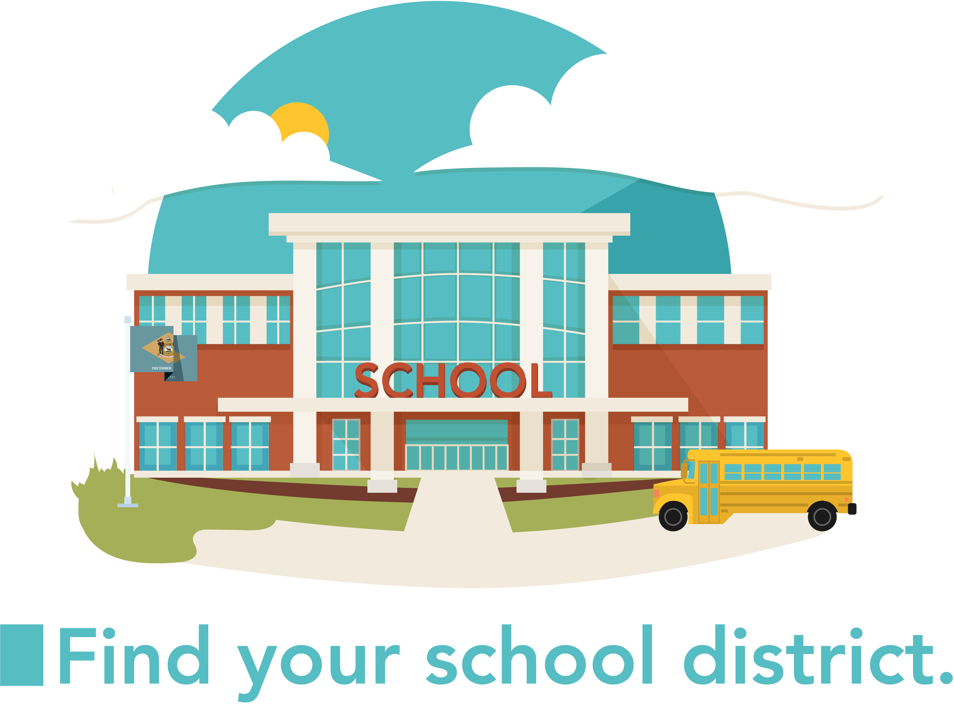 Graphic of a school building and a school bus.