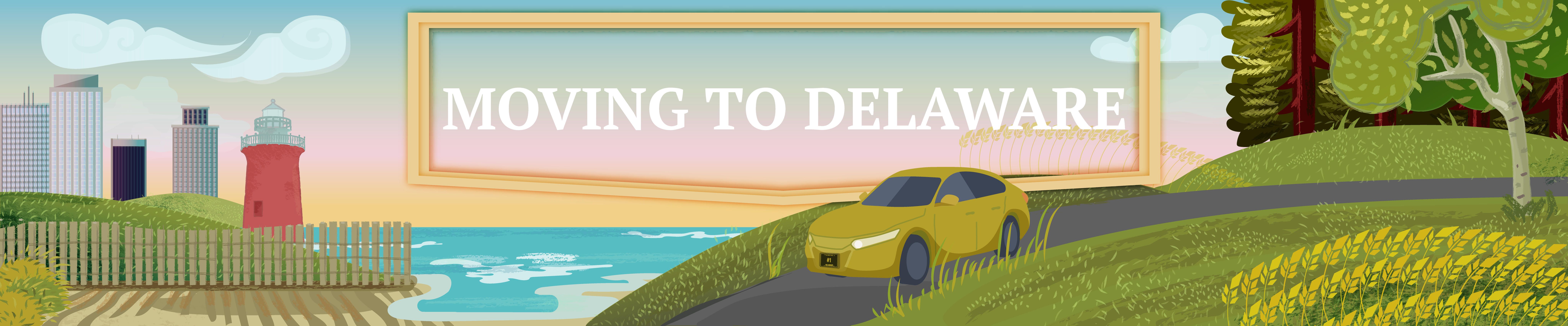 Graphic of a car moving to Delaware.