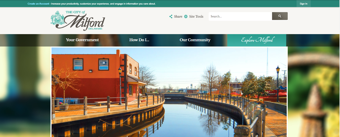 A picture of the of City of Milford, Delaware's website