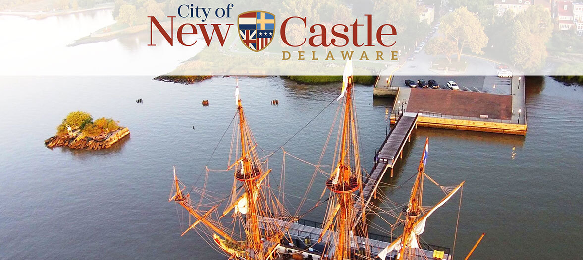 An ariel view of Historic New Castle showcasing the hisotric Kalmar Nyckel.