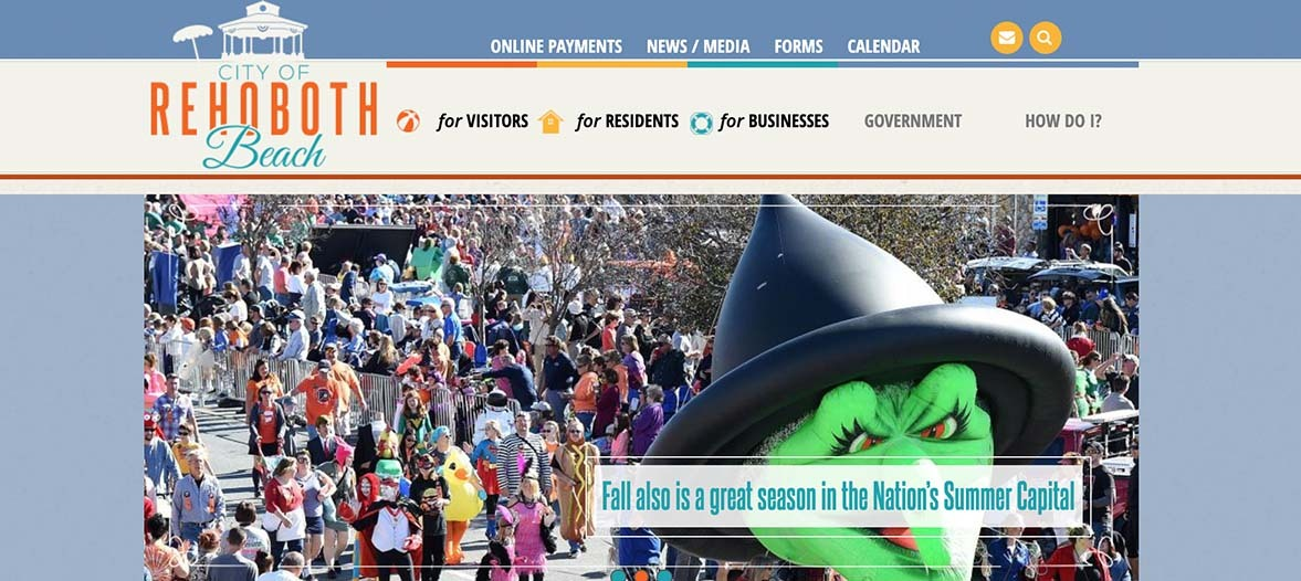 A screenshot of the City of Rehoboth's website featuring the notorious Sea Witch Fesitival.