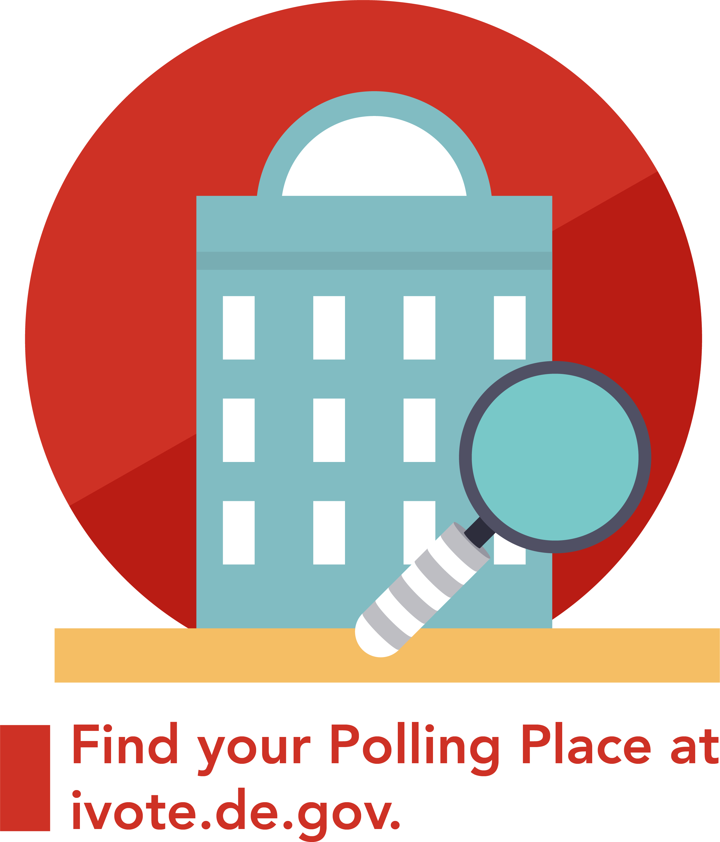 A graphic of a building and magnify glass that says find your polling place at ivote.de.gov