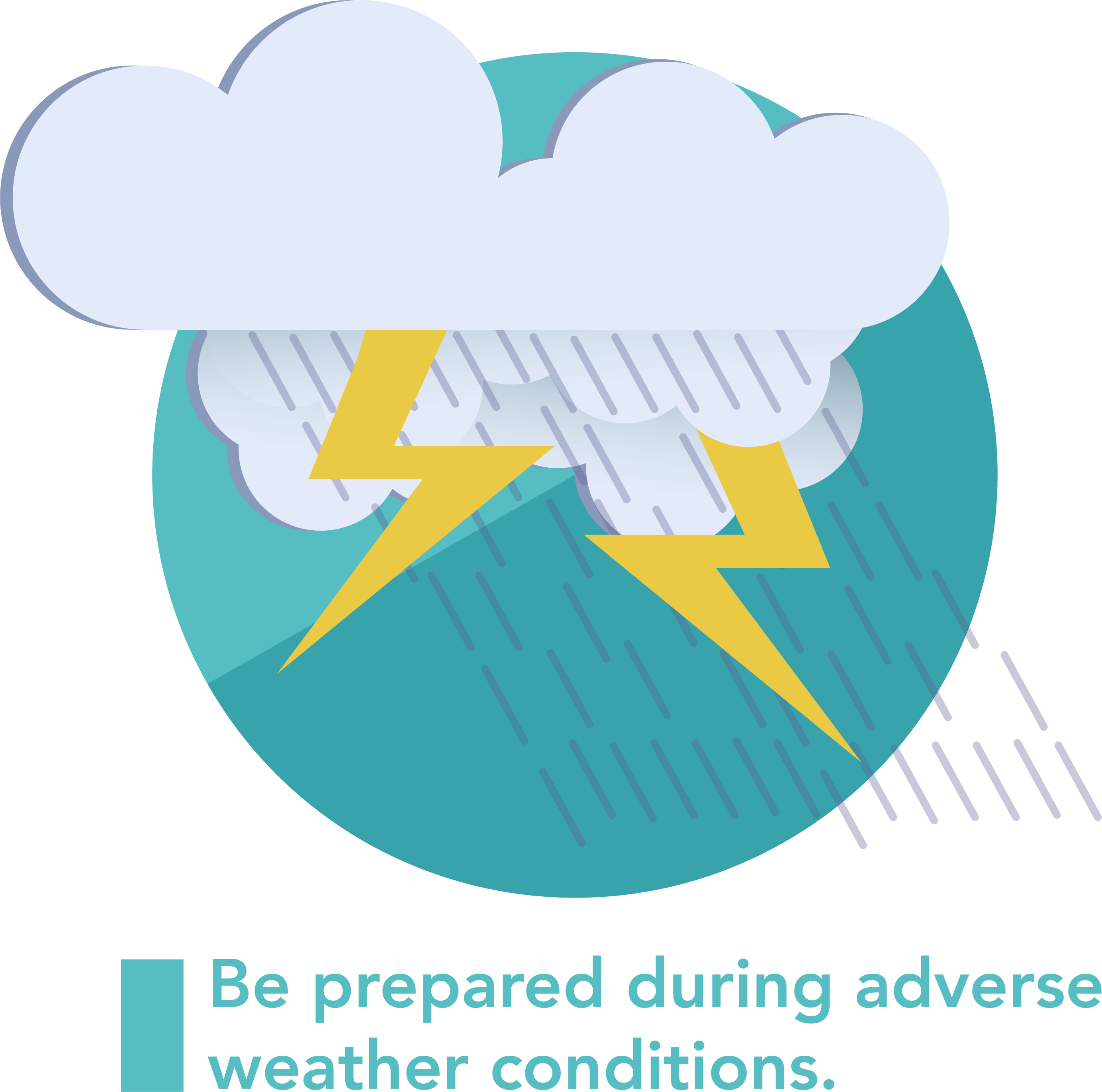 A graphic symbolizng a storm and being prepared