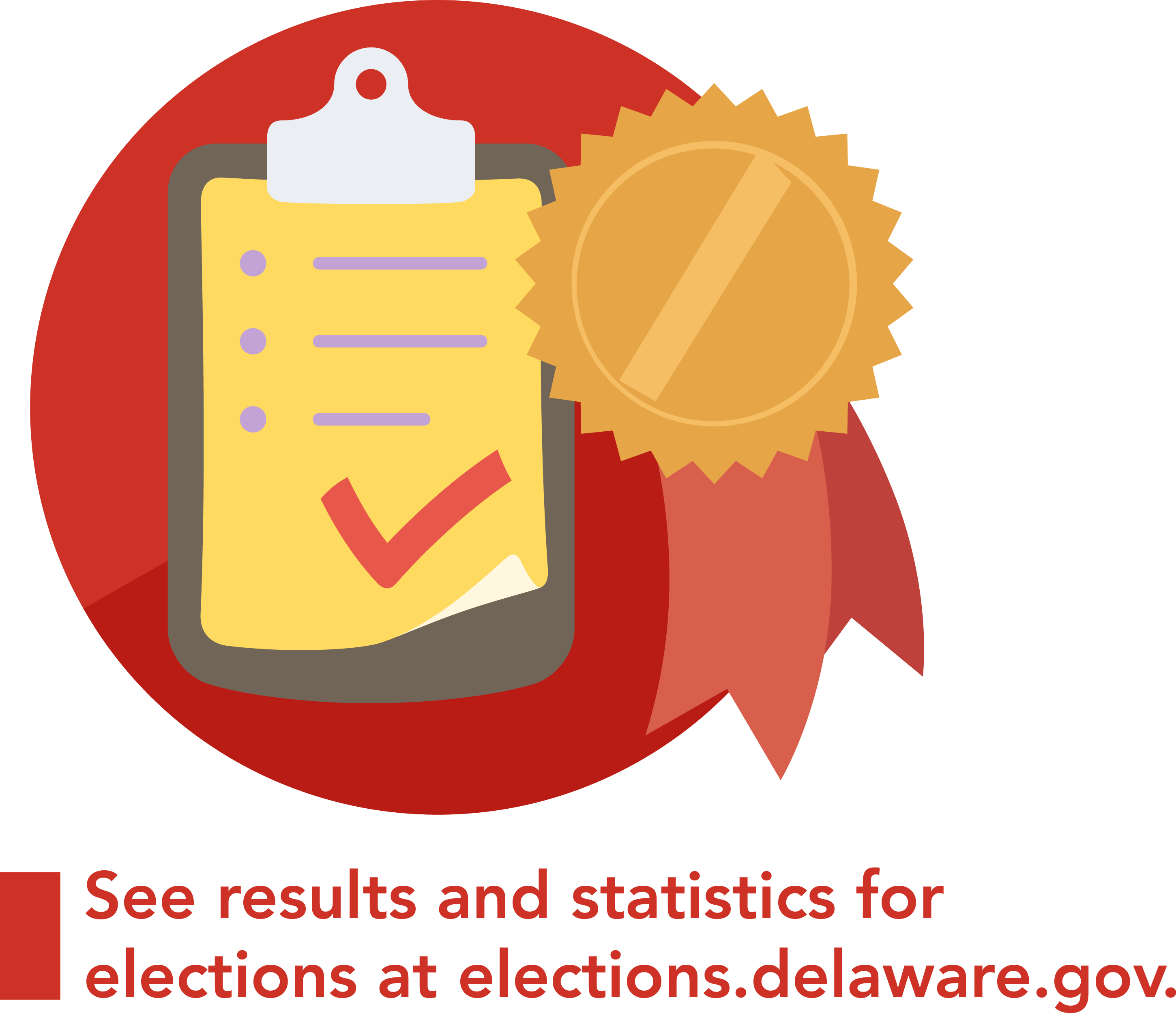 A graphic with a clipboard with results and a ribbon representing results