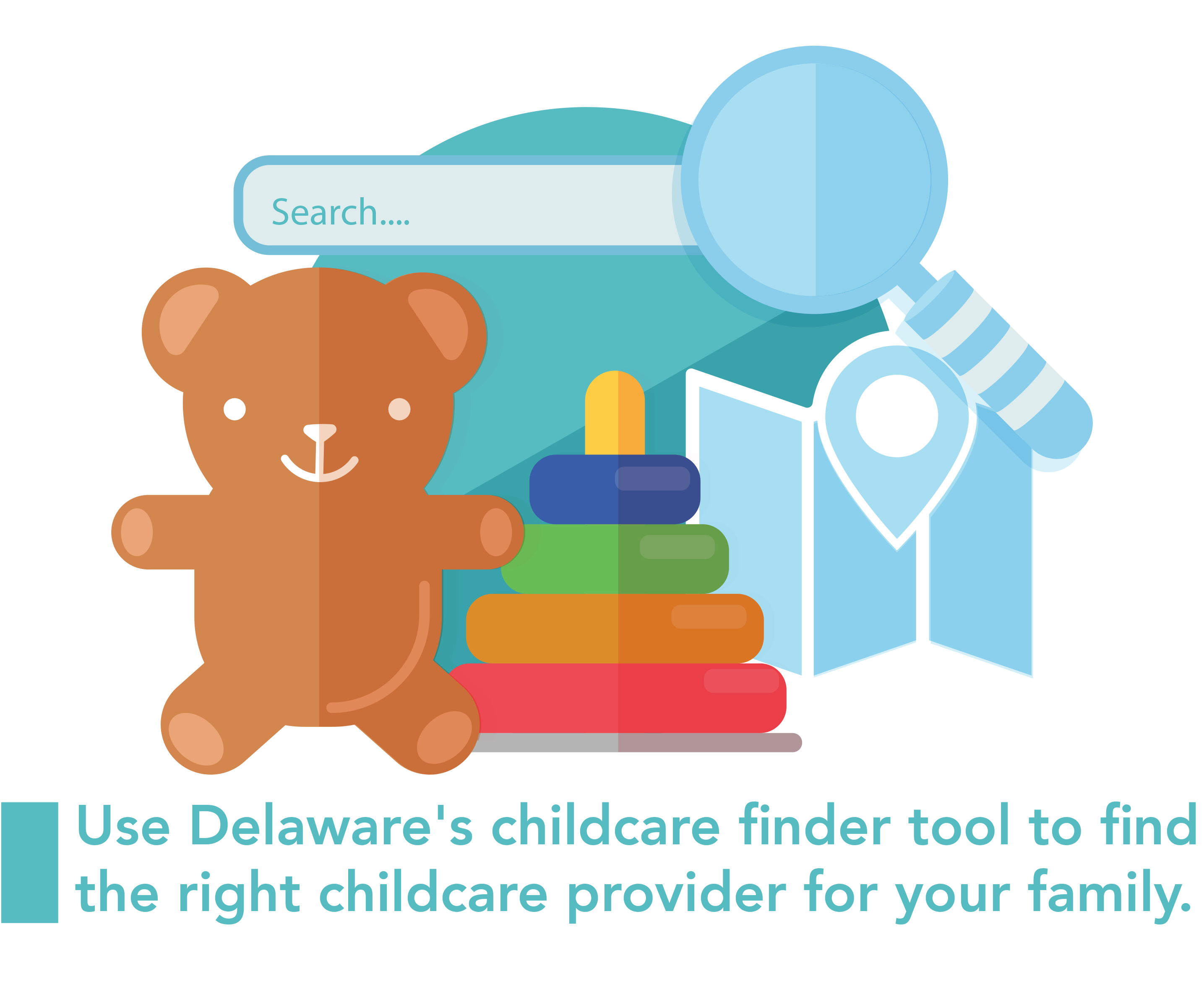 A graphic of a teddy bear and other children toys as well as a search icon representing the childcare finder tool.