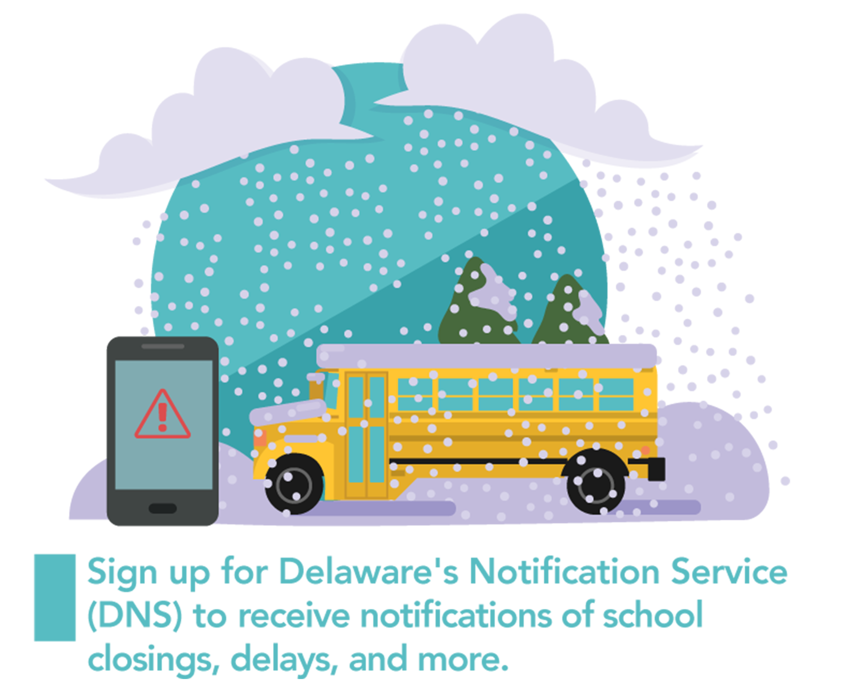 A graphic of a bus in snowy weather and a mobile phone representing the DNS Sign Up.