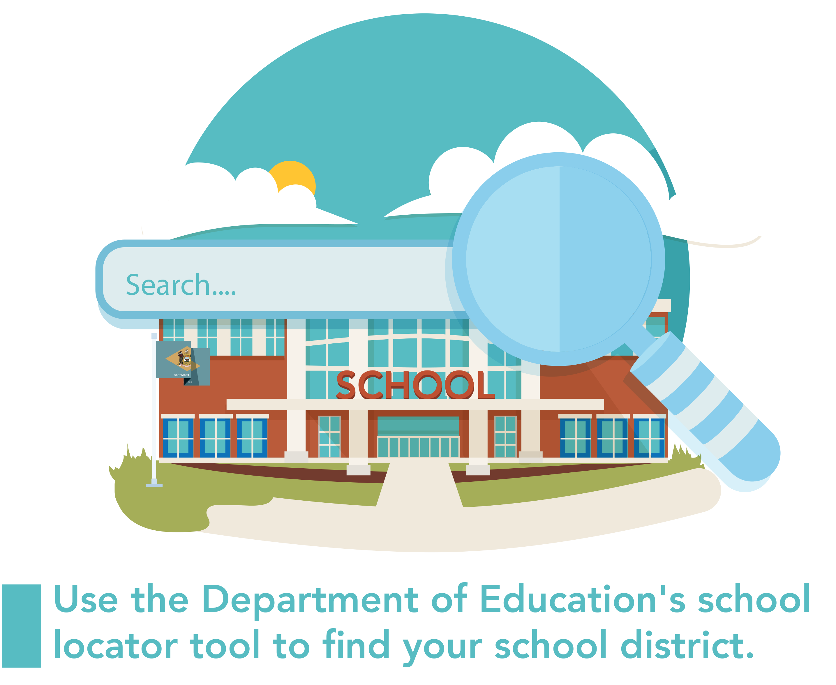 A grpahic with a school and a search icon representing the Department of Education's school locator tool.