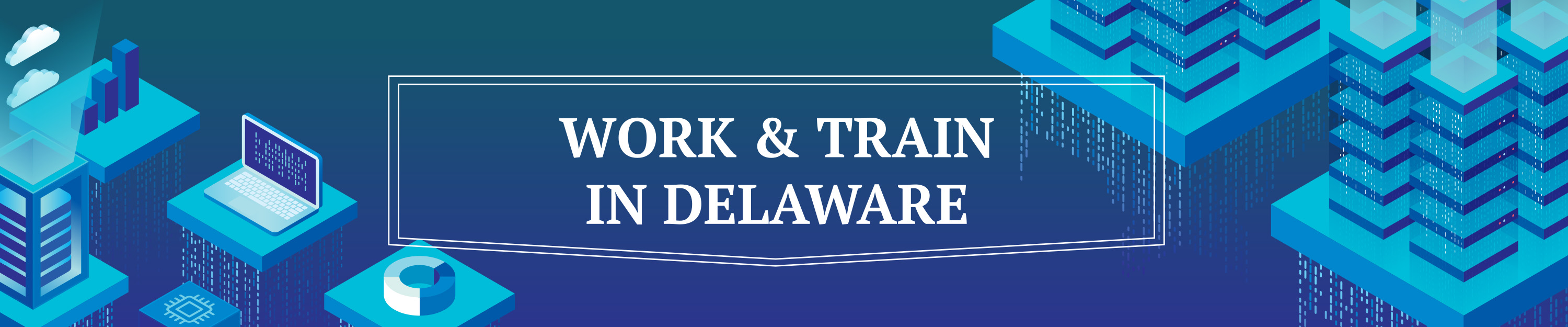 A graphic with symbols representing workign and training in Delaware
