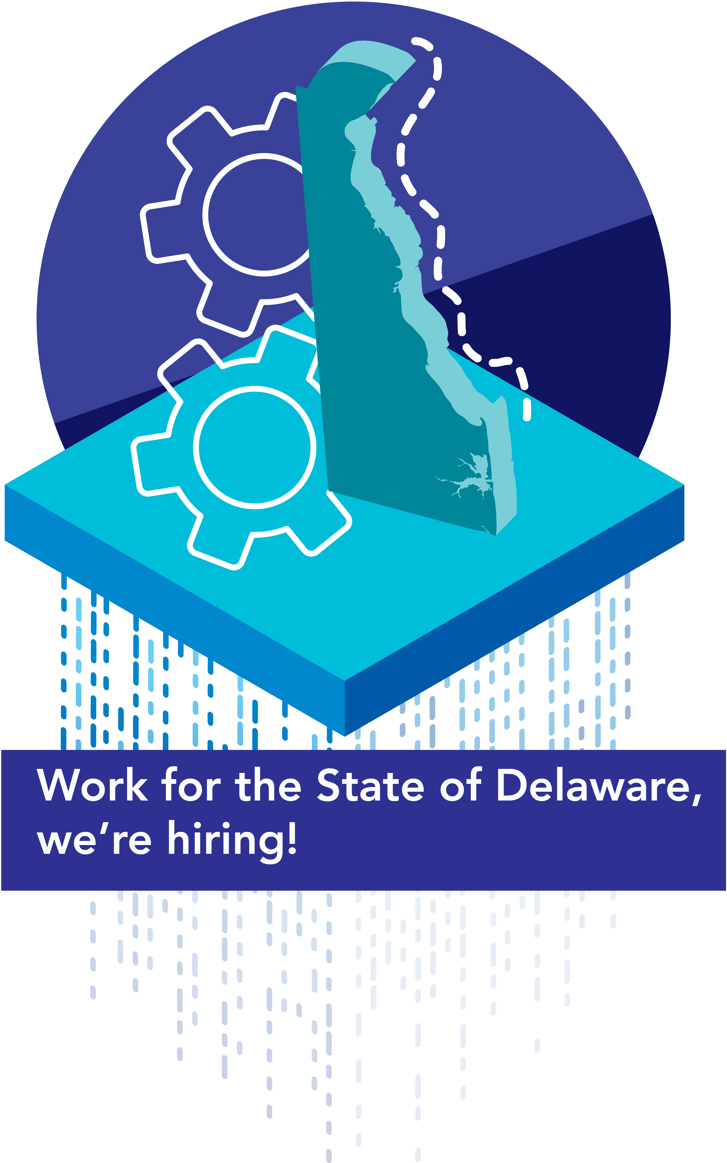 A graphic with cogs and the state of DE that says Work for the state of Delaware, we're hiring!